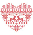 Scandinavian Nordic winter stitch knitting heart vector image vector image