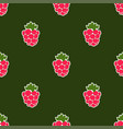 seamless raspberry background green pattern vector image vector image