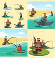 set cartoon fisherman catches fish sitting boat vector image