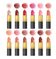 set color realistic lipsticks on white vector image vector image