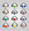 set of aluminium cloud icon with dfferent symbol vector image