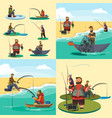 set of cartoon fisherman catches fish sitting boat vector image