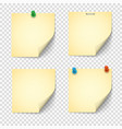 set yellow paper notes with push pins vector image vector image