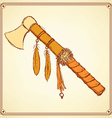 Sketch indian tomahawk in vintage style vector image