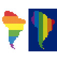 spectrum pixel dotted south america map vector image