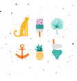 summer elements set cheetah ice cream pineapple vector image vector image