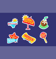 summer stickers set bright holidays trendy vector image vector image