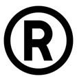 symbol copyright icon black color flat style vector image