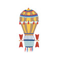 vintage hot air balloon with colorful striped vector image