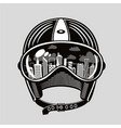 vintage moto helmet with reflection in glasses vector image vector image