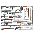 weapon military ammunition and shotguns icons vector image vector image