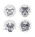 vintage monochrome motorcycle emblems set vector image