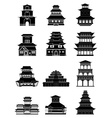 Ancient chinese architecture buildings icons set vector image