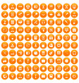 100 researcher science icons set orange vector image vector image