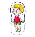 A young Asian boy playing skipping rope vector image vector image
