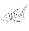 abstact hand drawing of fish in line art style vector image vector image