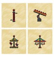 amusement park icons in hatching style vector image vector image