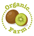 An organic farm label with a kiwi vector image vector image