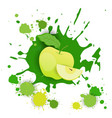 apple fruit logo watercolor splash design fresh vector image
