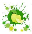 Apple fruit logo watercolor splash design fresh