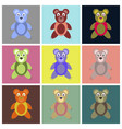 assembly flat icons toy bear vector image vector image