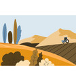autumn landscape field and tractor harvesting vector image