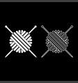ball of wool yarn and knitting needles icon set vector image