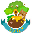 Banner design with bear and honey vector image vector image