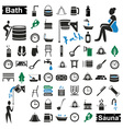 bath and sauna icons on white vector image