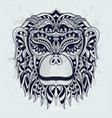 black and white stylized monkey zentangle vector image