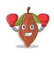 boxing cacao bean character cartoon vector image vector image