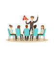 business leader using loudspeaker during business vector image vector image
