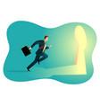 businessman running towards a key hole vector image
