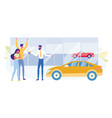 buying family car in saloon flat concept vector image vector image