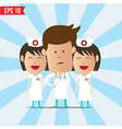 Cartoon doctor and nurse smile and thinking vector image