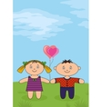 Children on meadow vector image vector image