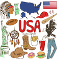 collection usa icons vector image vector image