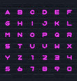 Color neon english alphabet set letters and
