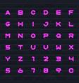 color neon english alphabet set letters vector image