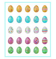 colorful easter eggs icons vector image vector image