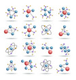 colourful 3d molecules structures vector image vector image