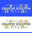 creative solution flat line concept for web vector image vector image