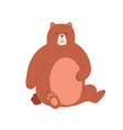 cute grizzly bear sitting and holding paw on its vector image vector image