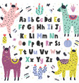 english alphabet with cute llamas educational vector image