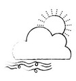 figure nice sun with cloud and fresh wind weather vector image vector image