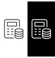 financial calculation line outline icon vector image vector image