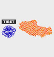 flamed mosaic tibet map and grunge managua stamp vector image vector image