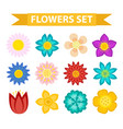 flowers and leaves icon set flat style floral vector image