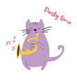 funny cat playing horn vector image vector image