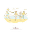 happy people running on sea shore friends travel vector image
